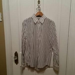 Medium brown and black striped men's dress shirt